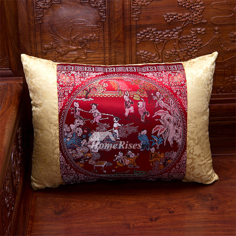 Luxury Silk Throw Pillows : luxury Vintage Gold And Red Floral Tree Silk Throw Pillows