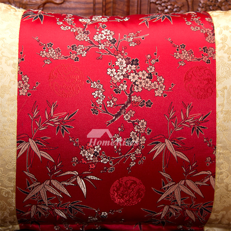 luxury Vintage Gold And Red Floral Tree Silk Throw Pillows
