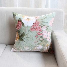 Country Floral Cotton Couch Red And Green Throw Pillows