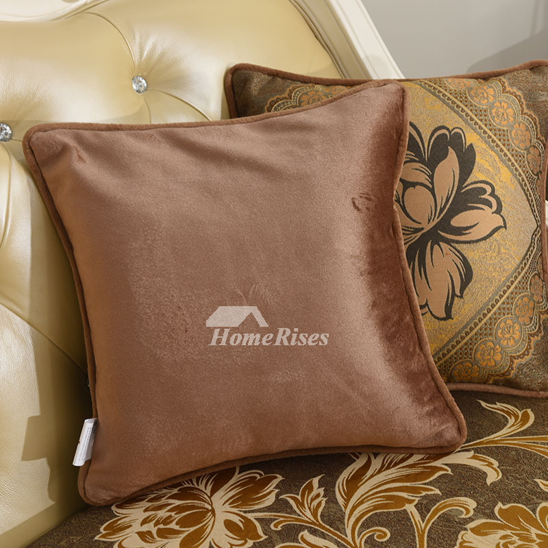 Country Brown Floral Polyester Fiber Throw Pillows For Couch