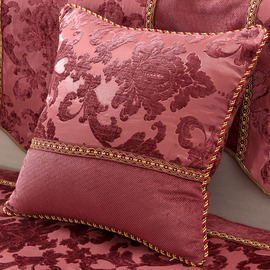 Country Burgundy Floral PP Cotton Throw Pillows For Couch