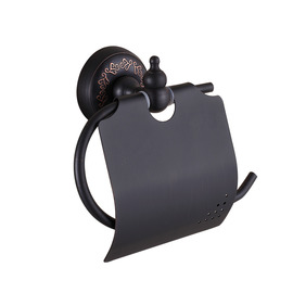 Rustic Toilet Paper Holder Black Hanging Wall Mount
