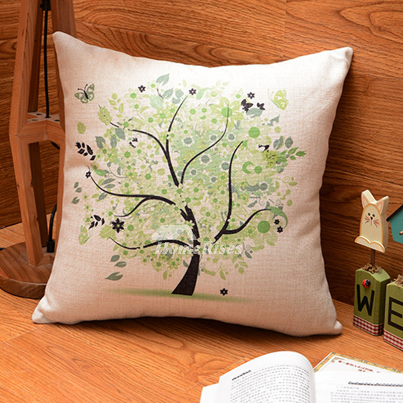 Country Colorful Tree Linen Cheap Throw Pillows For Couch