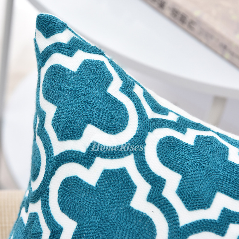 Modern Teal Linen Couch Chevron Throw Pillows