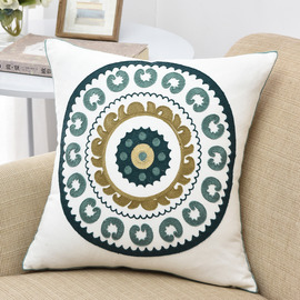 Modern Linen Geometrical Teal And White Throw Pillows