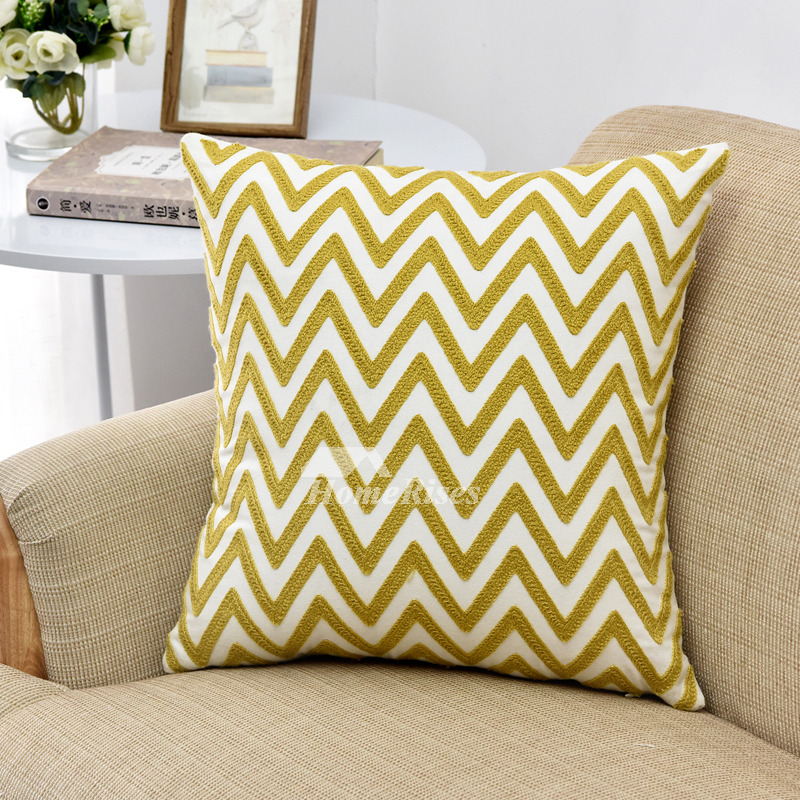 Yellow Linen Throw Pillow : Modern Yellow Chevron Linen Throw Pillows For Couch