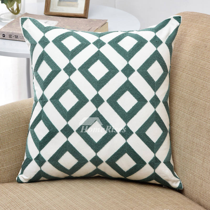 Contemporary Throw Pillows For Couch: Modern Teal Linen Chevron Throw Pillows For Couch