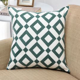 Modern Teal Linen Chevron Throw Pillows For Couch