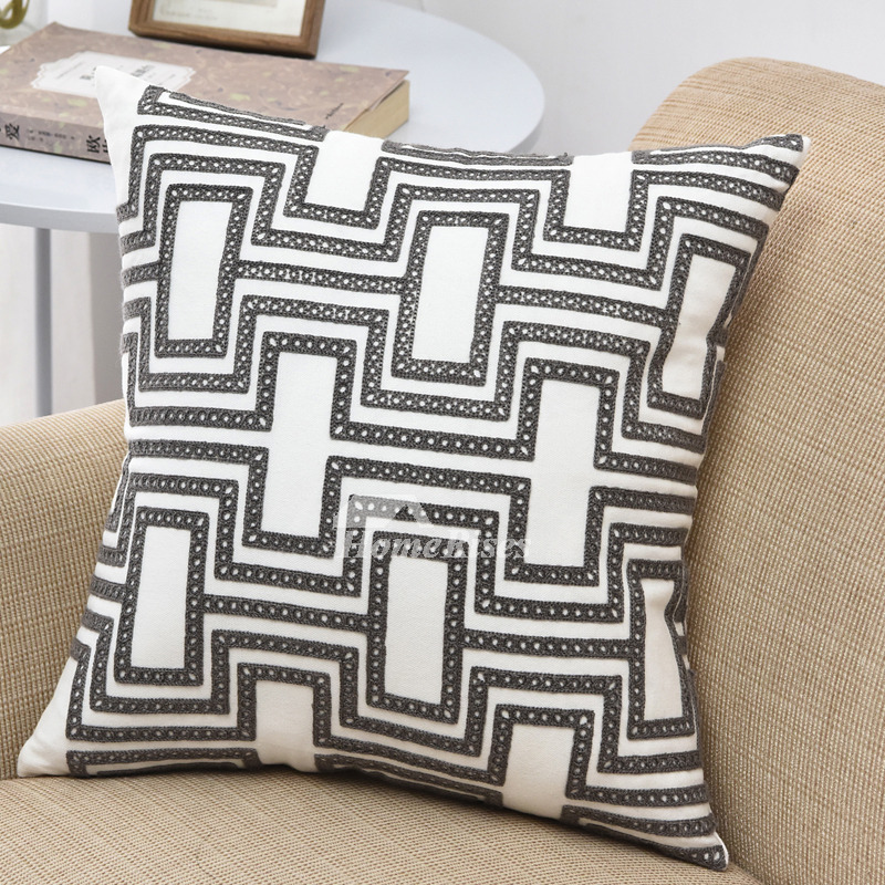 Modern Chevron Linen Grey And White Throw Pillows For Couch
