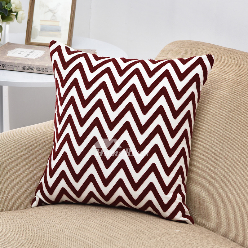Contemporary Throw Pillows For Couch: Modern Red Chevron Linen Throw Pillows For Couch