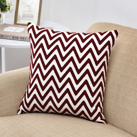 Modern Red Chevron Linen Throw Pillows For Couch