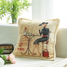 Designer Black And Cream Building Cartoon Throw Pillows