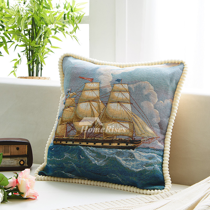 Coastal Blue Nautical Linen Throw Pillows For Couch
