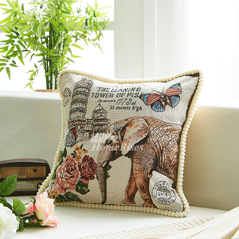 Unique Animal Linen Couch Yellow And Gray Throw Pillows