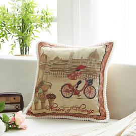 Country Cartoon Linen Brown And Red Throw Pillows For Couch
