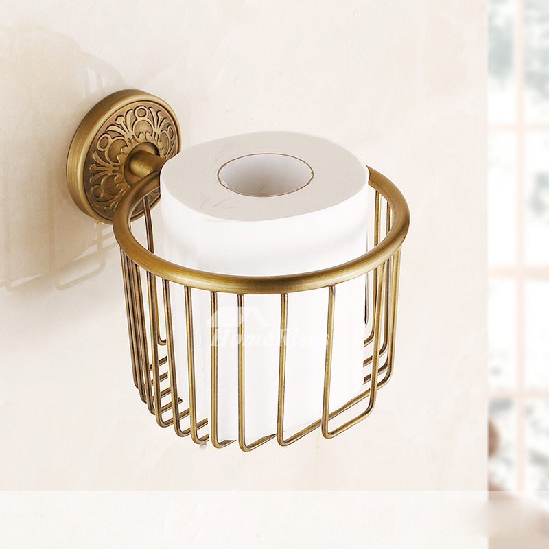 Pictures Show European Wall Mount Antique Gold Toilet Paper Holder