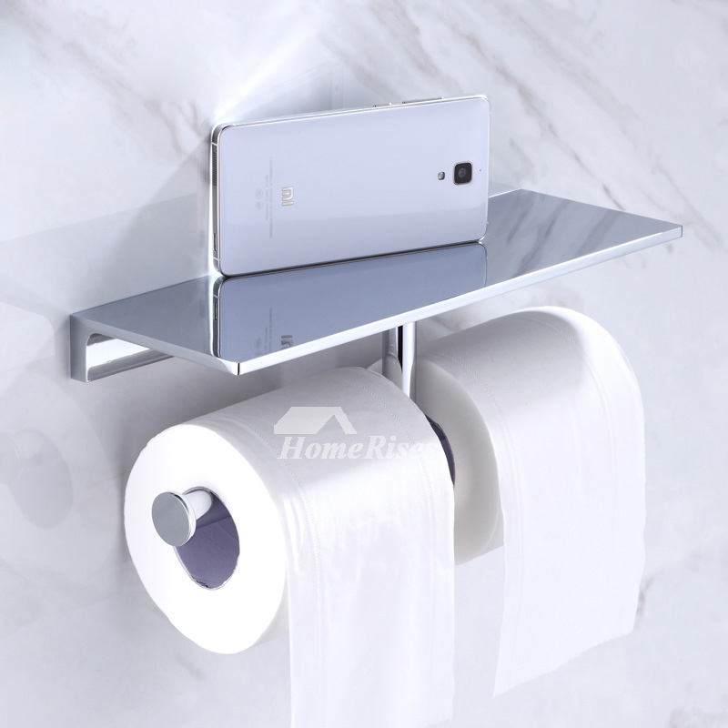 Bathroom Wall Mounted Toilet Tissue Roll Paper Holder Hook with Phone Shelf