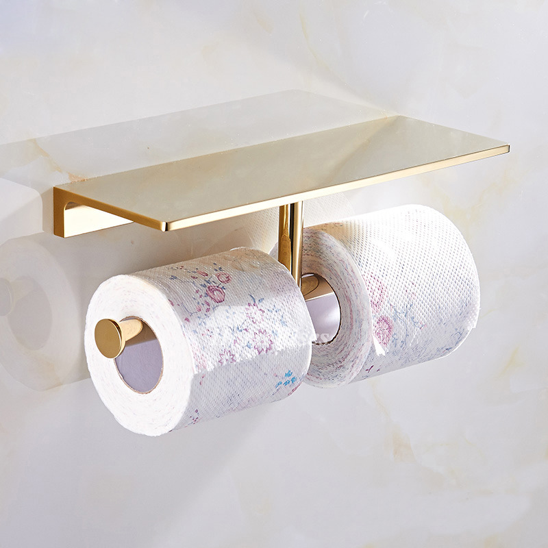 Luxury Gold Chrome Black Brass Double Toilet Paper Holder With Shelf Mesmerizing Bathroom Paper