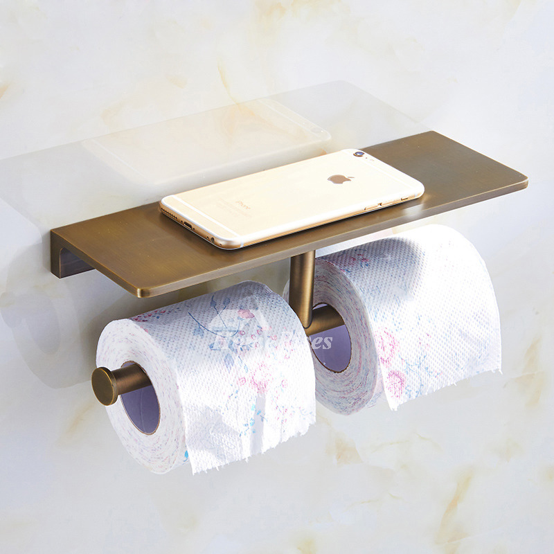 Gold Luxury Polished Antique Brass Double Toilet Paper