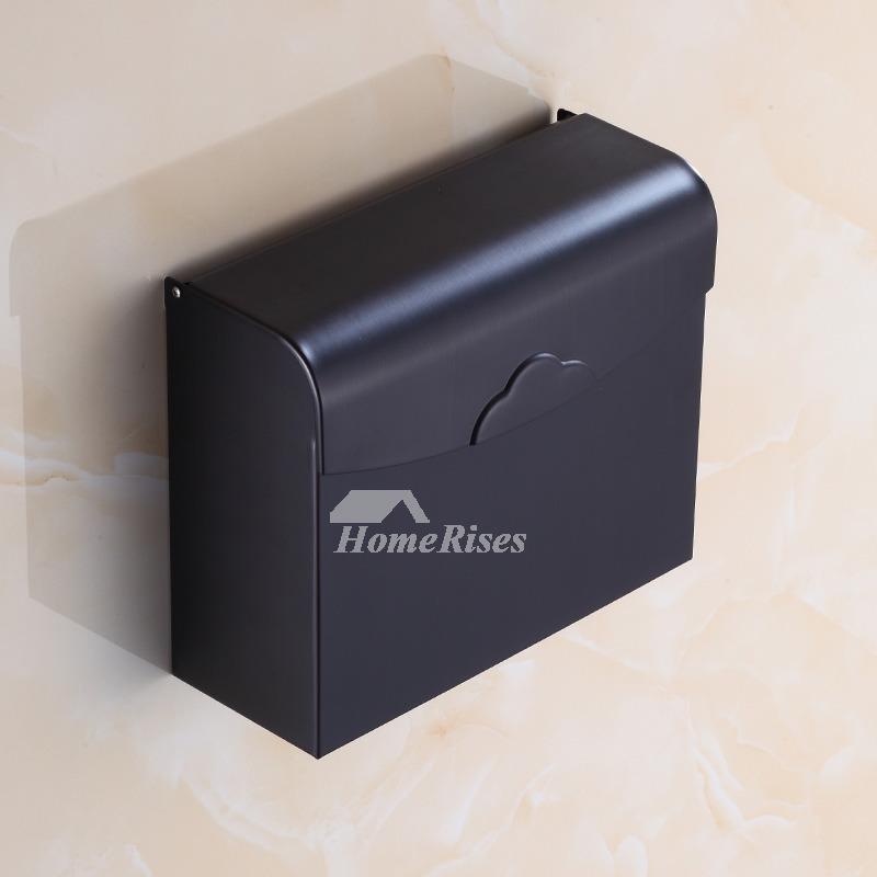Designer Black Toilet Paper Holder Rectangular Shaped Wall