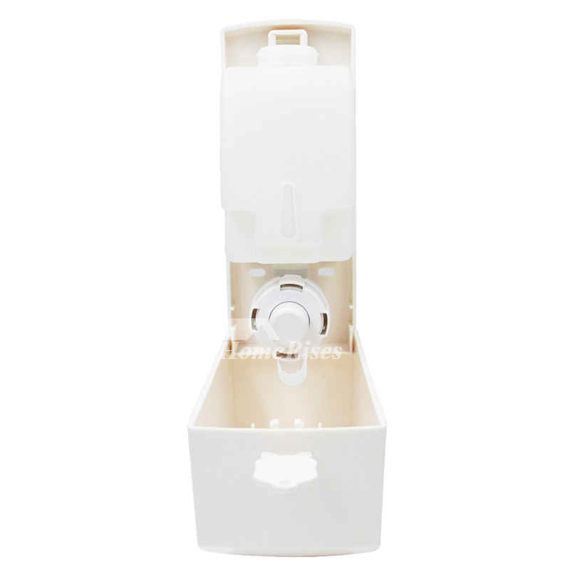 White Soap Dispenser Wall Mount Manual Abs Plastic