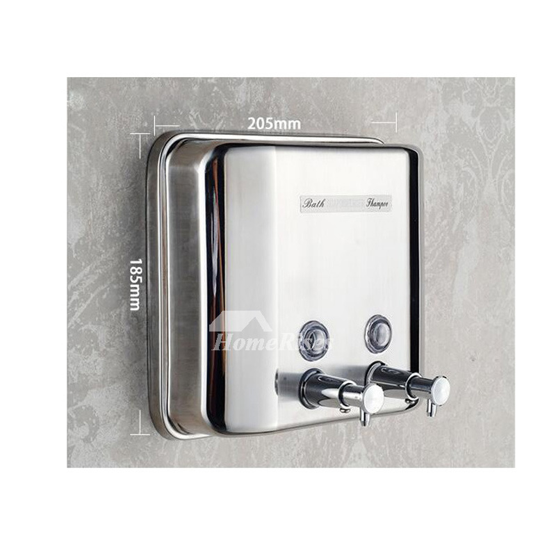 Good 304 Stainless Steel Wall Mount Double Soap Dispenser
