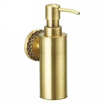 Gold Wall Mounted Soap Dispenser Polished Brass