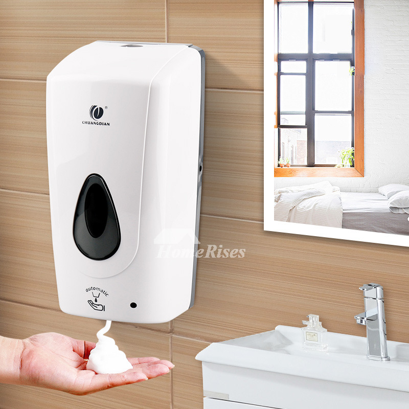 White Champagne Bathroom Soap Dispensers Touchless