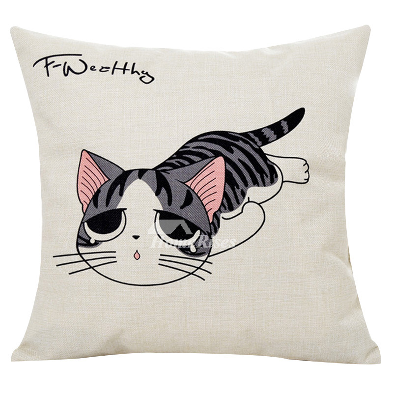 Chic Cat Pillows Linen Cream Square Shaped