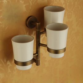 Wall Mount Toothbrush Holder Ceramic Cup Antique Brass