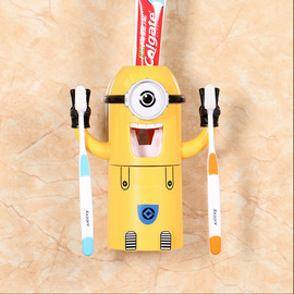 Toothbrush And Toothpaste Holder Yellow Kids Suction Cup