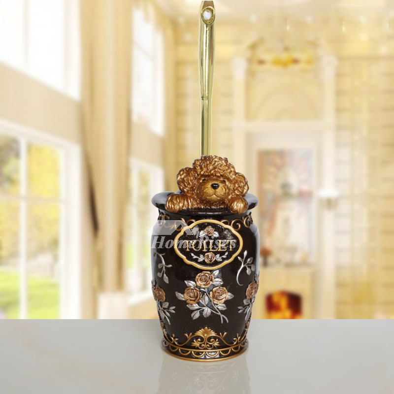 Bathroom Bear Toilet Brush Holder Carved Resin Decorative