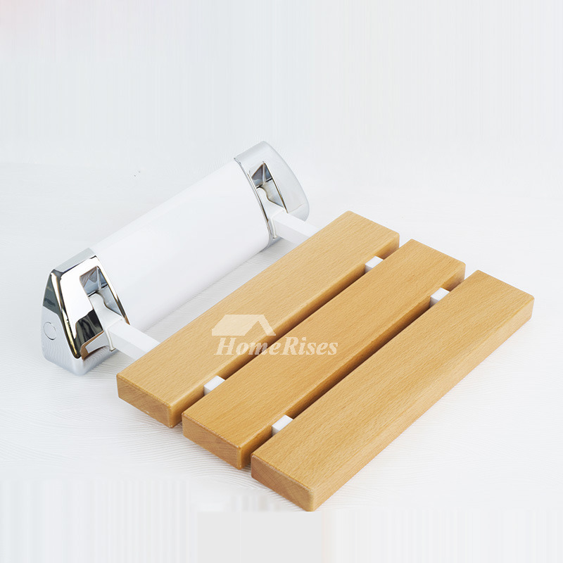Wooden Shower Seat Wall Mount Aluminum Alloy Base