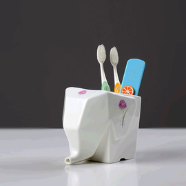 Animal Toothbrush Holder Elephant Shaped Ceramic White