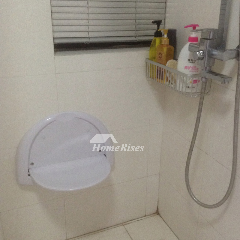 Imported Semi Circle Shaped White Shower Seat For Bathroom