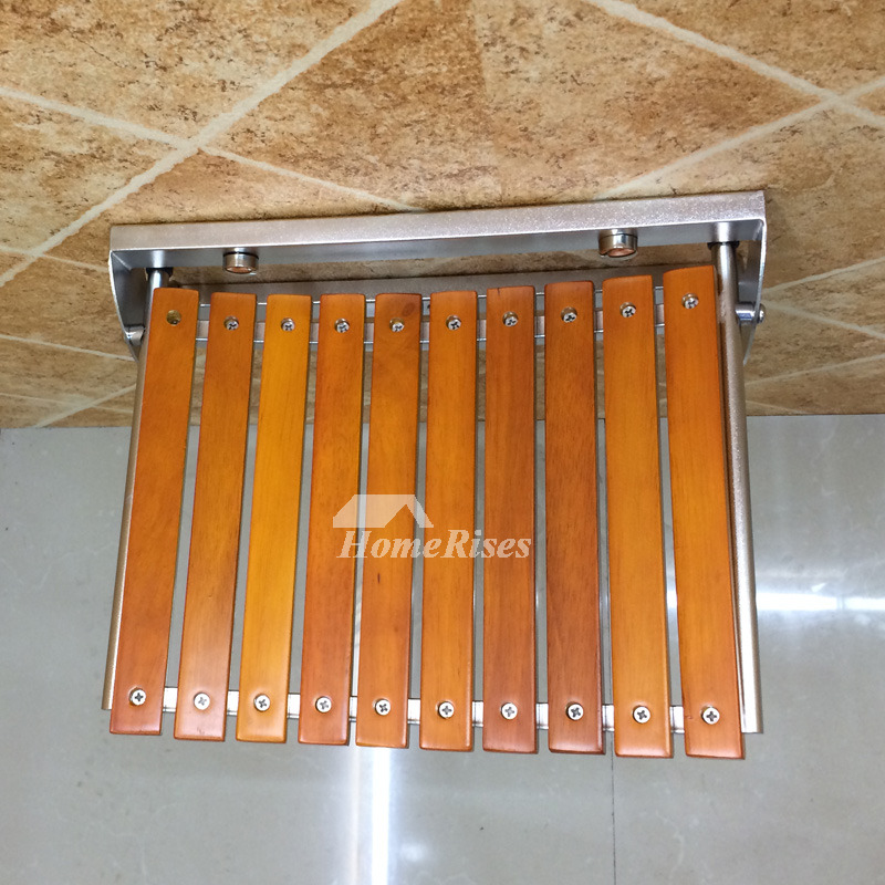 Wall Mount Fold Up Shower Seat Wooden Stainless Steel