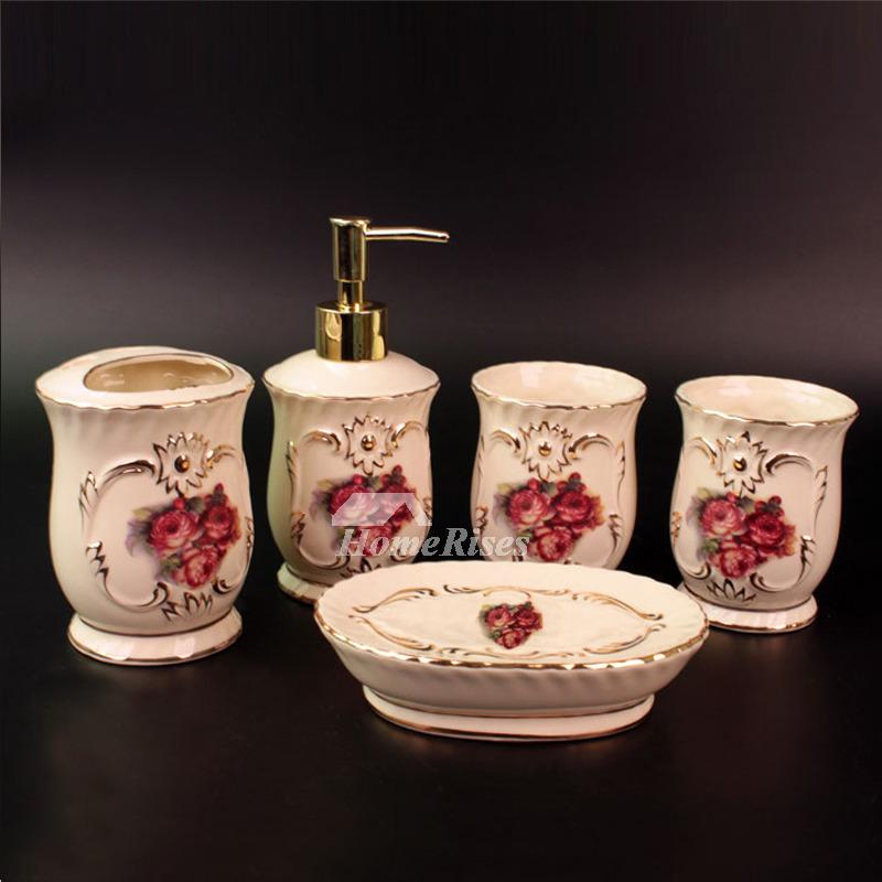 5 Piece Ceramic Bathroom Accessories Sets Carved Rose