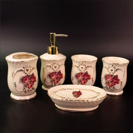 5-Piece Ceramic Bathroom Accessories Sets Carved Rose