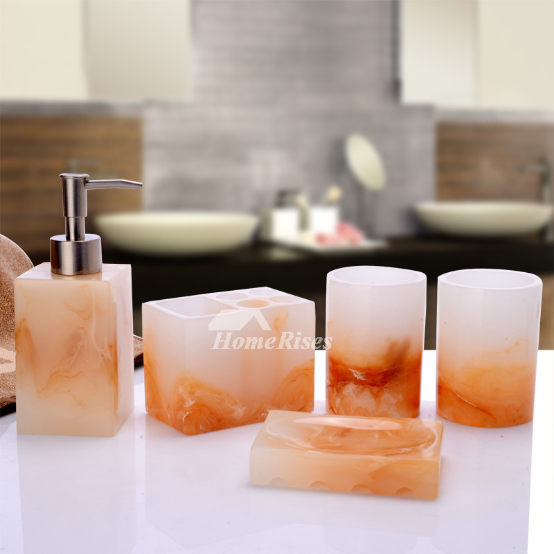 5 Piece Resin Marble Bathroom Accessories