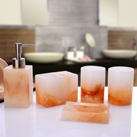 5-Piece Resin Marble Bathroom Accessories