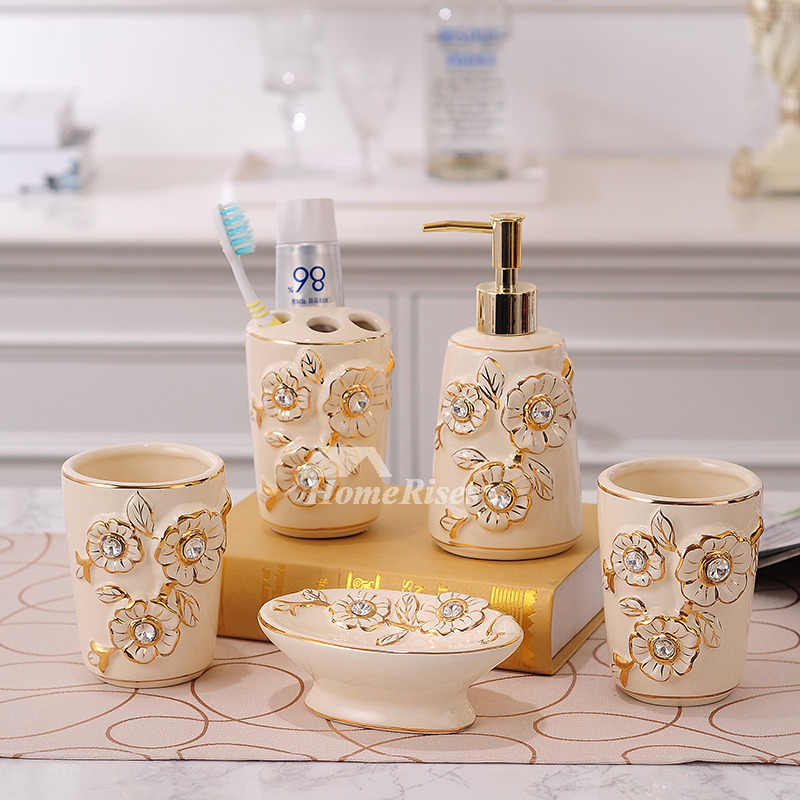5 piece carved beige ceramic bathroom accessories sets for Ceramic bath accessories