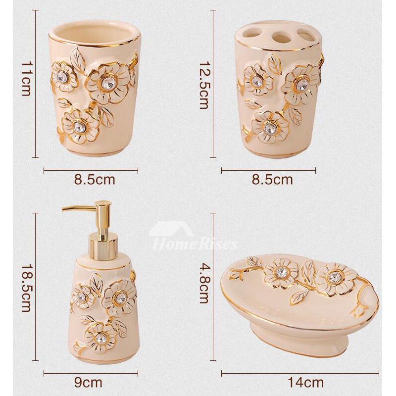 5piece carved beige ceramic bathroom accessories sets