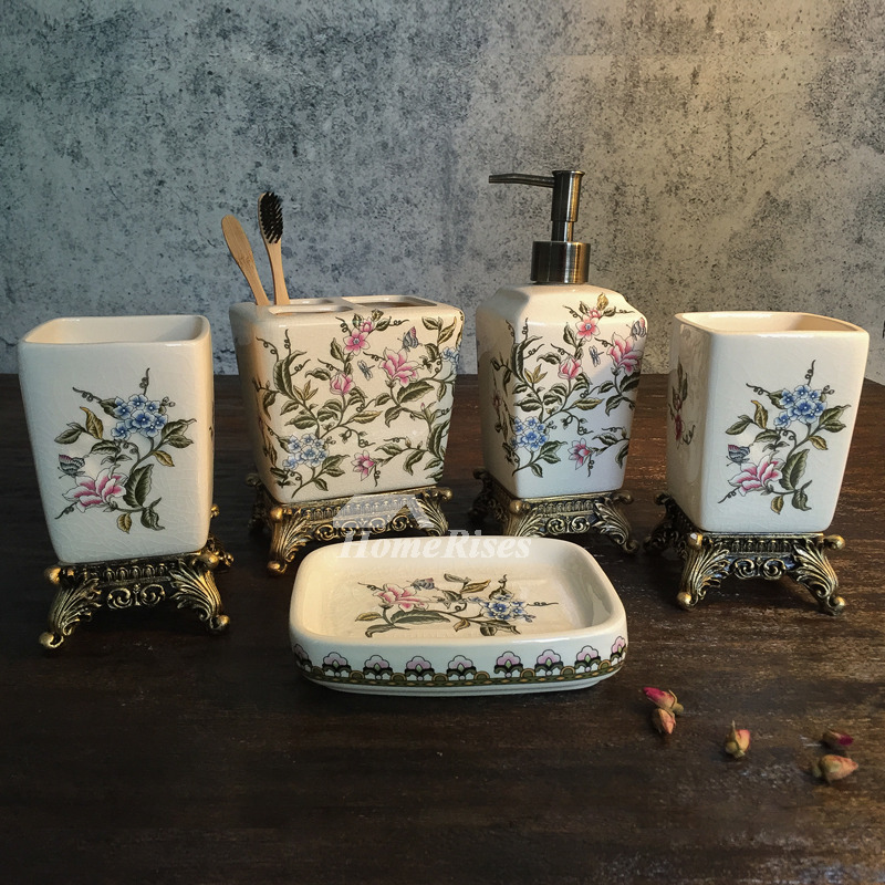 Exquisite 5 Piece Enamel Ceramic Bathroom Accessories Sets