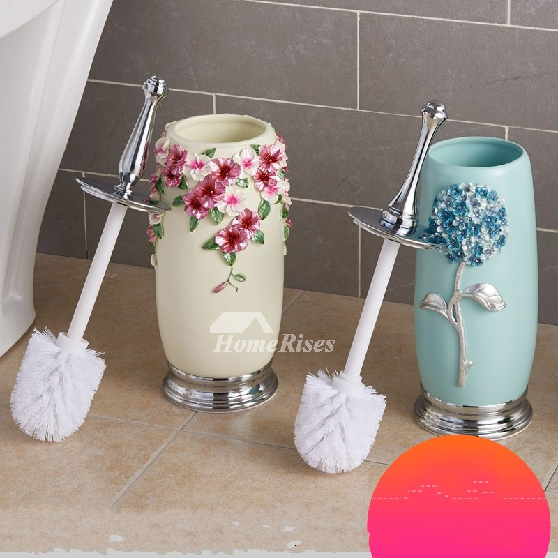 Decorative Macaron Blue Best Toilet Brush And Holder Carved