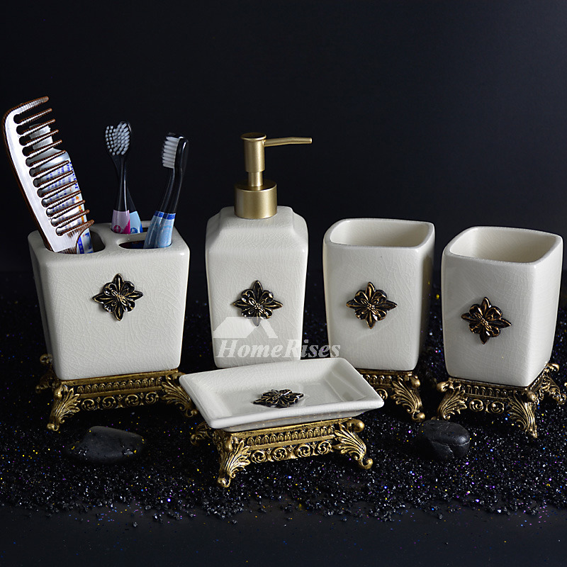 European 5 piece ceramic bathroom accessories sets carved for Ceramic bathroom accessories sets