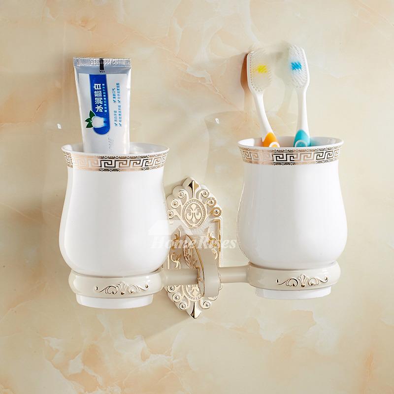 Wall Mounted Modern Toothbrush Holder Glass White Resin