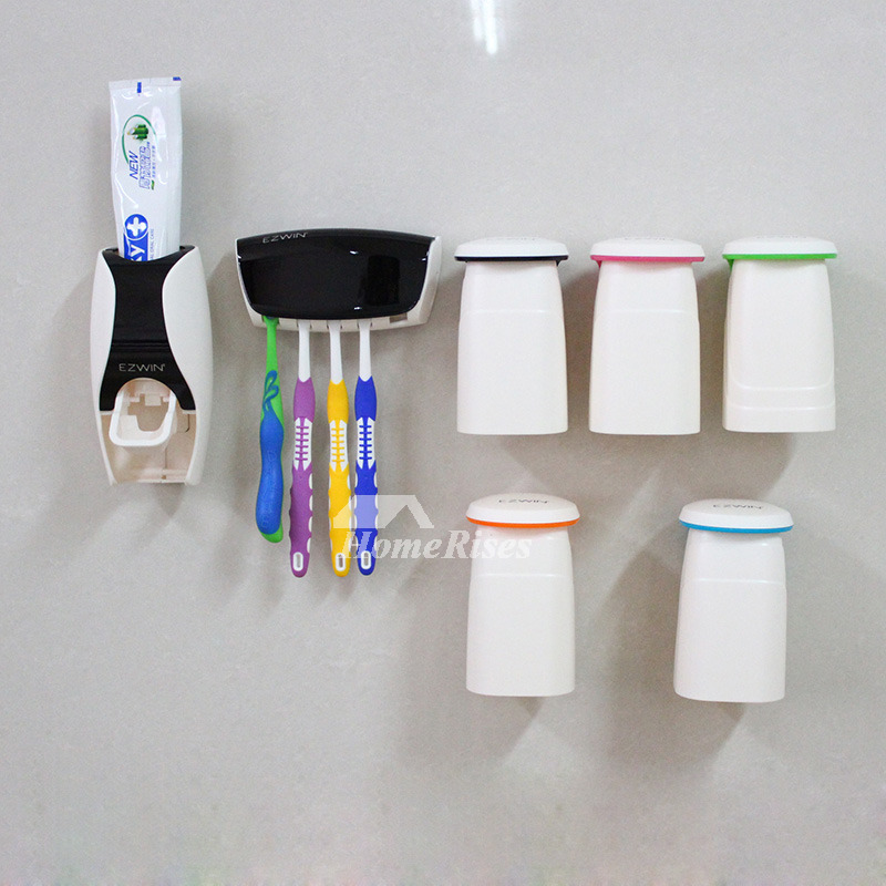 No Drill Toothbrush Toothpaste Holder Black And White