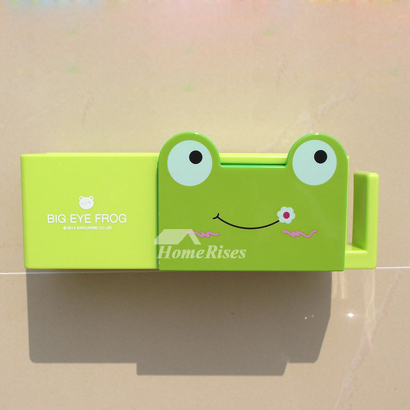 Animal Toothbrush Holder Frog Shaped Green No Drill