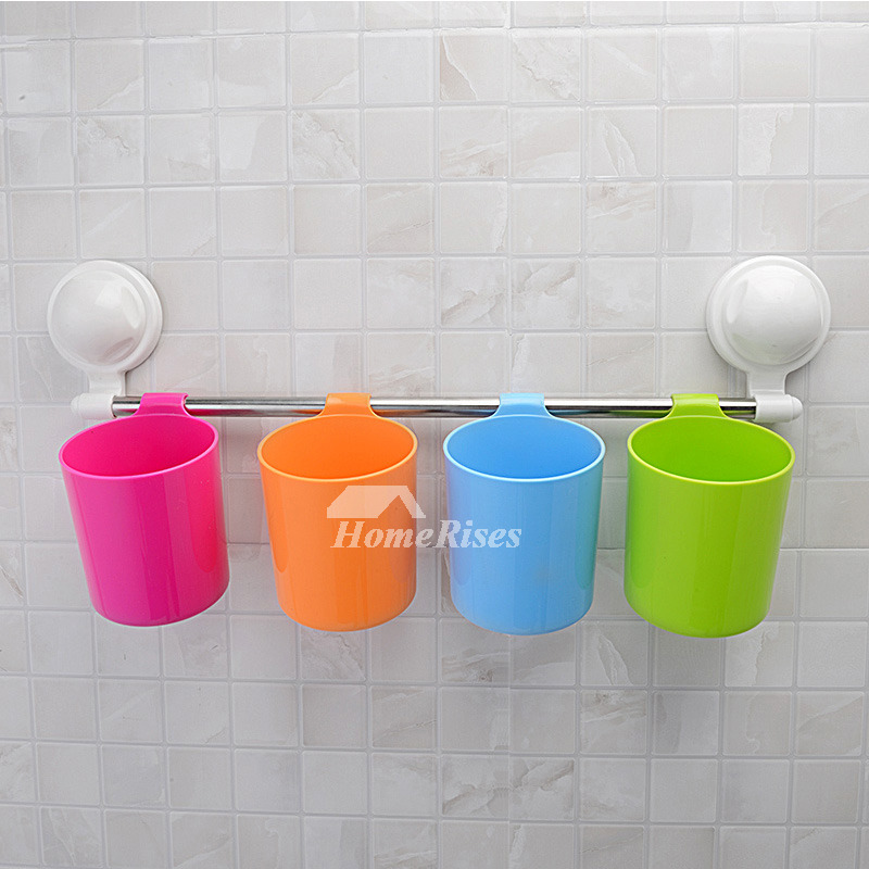 Suction cup colorful cup hanging toothbrush holder for Colorful bathroom accessories
