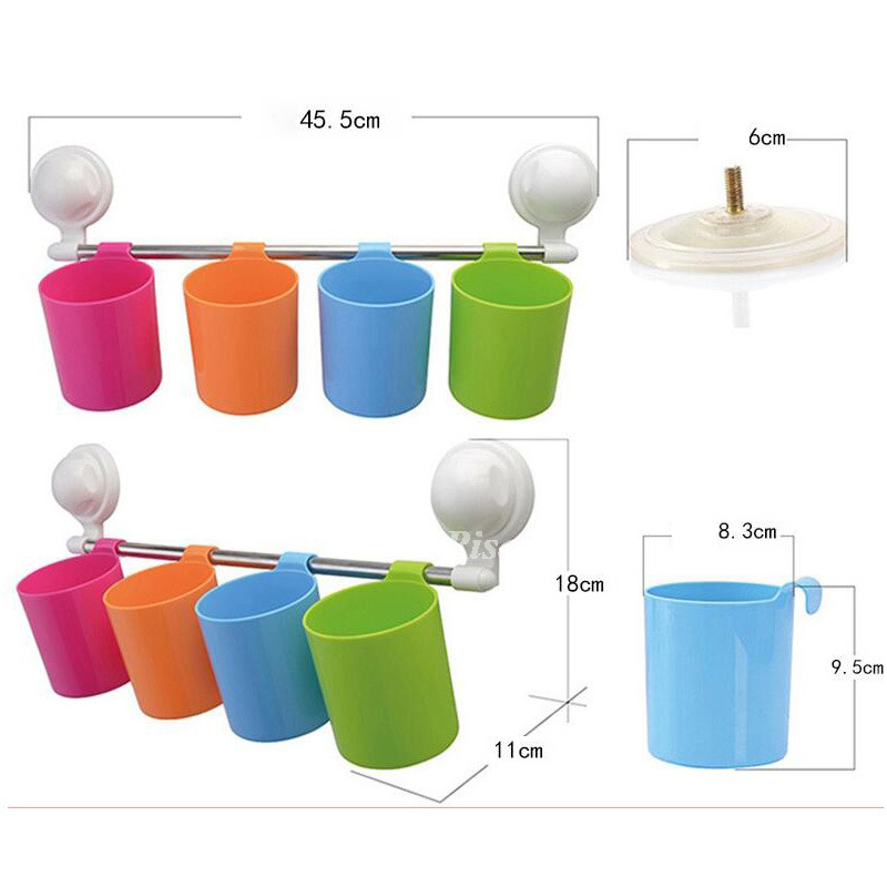 Suction Cup Colorful Cup Hanging Toothbrush Holder